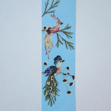 "Handmade unique bookmark ""Be yourself"" - Pressed flowers bookmark - Unique gift - Paper bookmark - Original art collage."