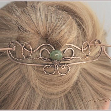Hair Barrette Copper Wire Wrapped, Wire Hair Pin, Hair Accessory, Green Bead Drop, Copper Hair Slide Women, Gift for Her, Hair Clip Wire Art