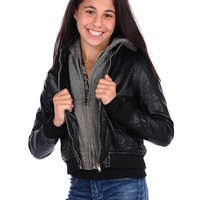Vintage Havana Vegan Leather Jacket With Knit Hood