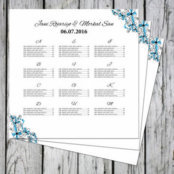 Sale ! Wedding Seating Chart Template | Wedding  Seating Poster | 22x22 Printable Seating Sign | Editable With Microsoft Word | SC-023