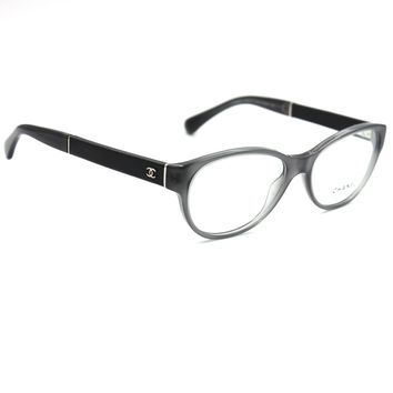 Chanel 3309Q Transparent Gray Frame with Black Leather on Temples