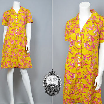 Vintage 70s Flower Power Mustard Yellow Psychedelic Shift Dress Mod Hippie Floral Pattern Collared Dress Pink and Yellow Hippy Dress 1970s