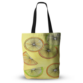 "Rosie Brown ""Lemons And Limes"" Yellow Fruit Everything Tote Bag"