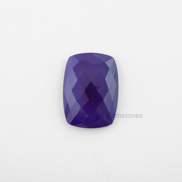 Loose Gemstone Amethyst Chalcedony Faceted Rounded Rectangle 22x30mm AAA Grade - 1 Pcs.