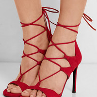 Stuart Weitzman - Legwrap lace-up suede sandals