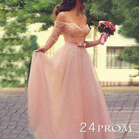 Custom Made A-line Lace Sweetheart Long Prom Dresses, Foraml Dresses