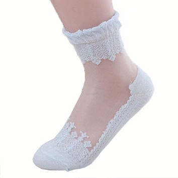 Lace Socks Ruffle Ankle Sock Soft Comfy Sheer Silk Elastic Mesh Knit Frill Trim