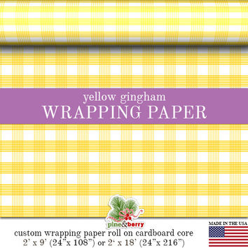 Yellow Gingham Wrapping Paper | Custom Yellow Gingham Plaid Gift Wrap Matte Finish Available In 2 Sizes For Any Occasion. Made In The USA