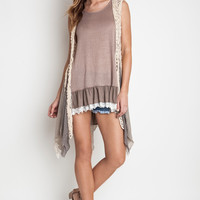 Umgee Sleeveless Crochet Knit Vest