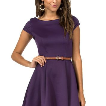 Teeze Me | Cap Sleeve High-Low Fit and Flare Scuba Dress  | Purple
