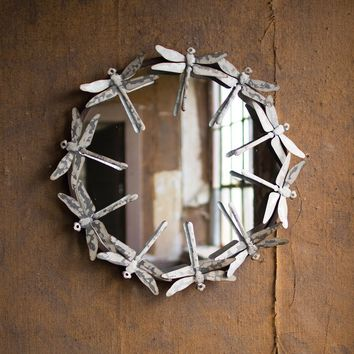 Round Metal Dragonfly Mirror