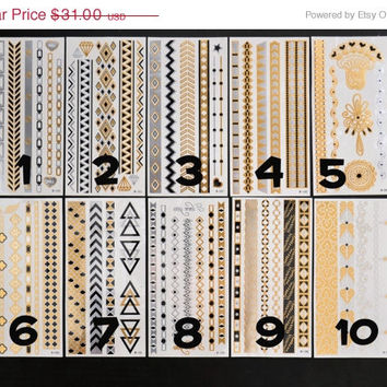 SALE!  Pick Any Four Bundle Pack! - Metallic Gold Silver and Black Temporary Tattoo - Flash Tattoo - Jewelry - Body Ink Art - Stylish