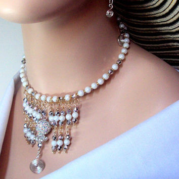 White Czech bead Egyptian inspired belly dancer bollywood bib collar waterfall statement beaded choker necklace and jewellery