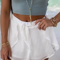 Oasis White Satin Tulip Shorts
