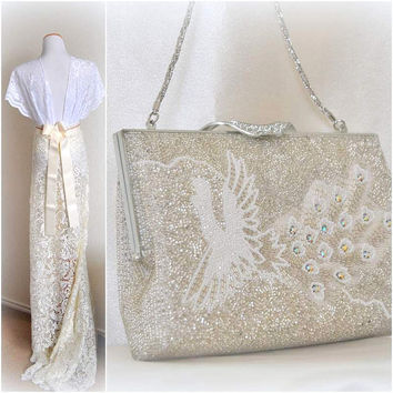 Vtg French Beaded Clutch White Peacock Pearl Bag Wedding Purse Handbag Unique Evening Bags Vanity Bridal 1960s