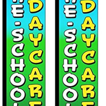 Preschool & Daycare Two(2) Windless Swooper Feather Flag Sign Kits With Pole and Ground Spikes