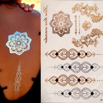 Painted body art sticker Bracelet tattoo metallic tattoo golden flash tattoos large fake gold Silver temporary tattoo