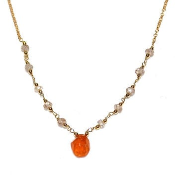 Tavernier Cut Bright Orange Tourmaline Necklace Rainbow Tourmaline Delicate Necklace Tourmaline Jewelry