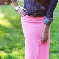 Candy Pink Fold over Maxi Skirt