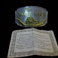 GOLD TONE WORLD WAR II REMEMBERED 1941-1945 BELT BUCKLE