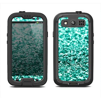 The Aqua Green Glimmer Samsung Galaxy S4 LifeProof Fre Case Skin Set