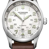 Men's Victorinox Swiss Army 'Airboss' Automatic Leather Strap Watch, 42mm