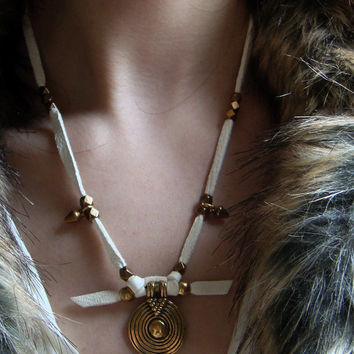 Leather Necklace Boho Necklace Indie Jewelry Rocker Tribal Necklace Native American Native Indian Necklace Jewelry Layer Necklace Leather