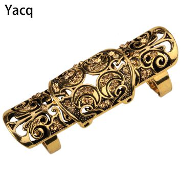 YACQ Double Full Finger Knuckle Long Armor Ring for Women Antique Gold Silver Plated Punk Rock Party Jewelry Dropshipping RM05