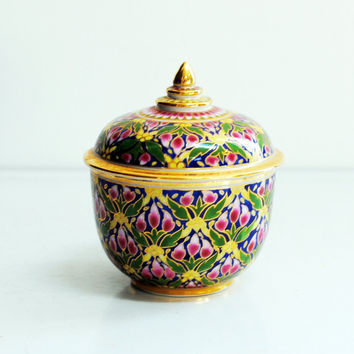 Ceramic enamel decorative box with lid - jewelry box, trinket box, candle holder
