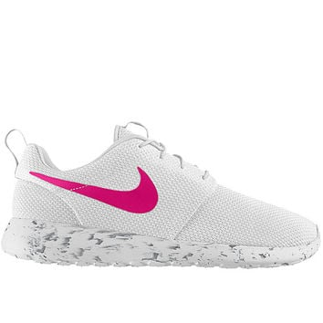 09550e4630b5 Nike Roshe Run Women White with Custom Pink Swoosh and Black Marbled Sole  Paint