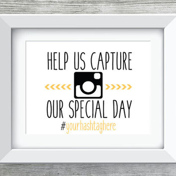 Help Us Capture Our Special Day Wedding Printable/Instant Download Instagram w/Hashtag