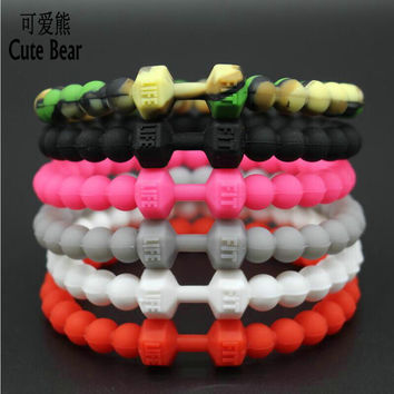 Cute Bear Silicone Dumbbell Bracelets & Bangles Men Bracelets Fit Life Fitness Sports Barbell Jewelry Charm Bracelet For Women