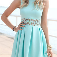 High-Neck Cut Out Blue Dress