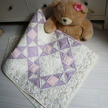 Baby quilt Lavender and rose by GaliaK on Etsy