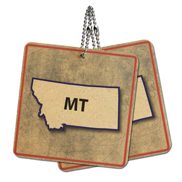 """Montana MT State Outline on Faded Blue Wood MDF 4"""" x 4"""" Mini Signs Gift Tags"""