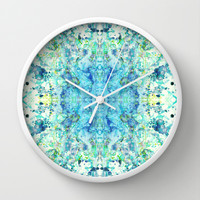 Aqua & Mint Symmetrical Watercolor Abstract Wall Clock by TigaTiga Artworks