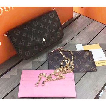 LV Popular Women Monogram Leather Shoulder Bag Crossbody Purse Wallet Set Three Piece (Pink internal)
