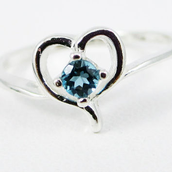 Tiny London Blue Topaz Heart Ring Sterling Silver, December Birthstone Ring, Sterling Silver Heart Ring, 925 Topaz Ring