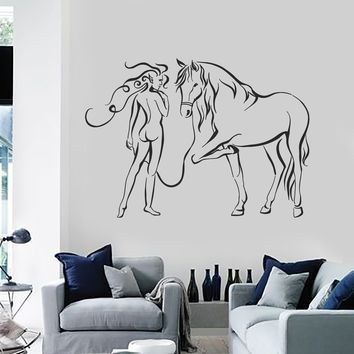 Vinyl Wall Decal Woman with Horse Bedroom Decorating Art Stickers Mural Unique Gift (ig5163)