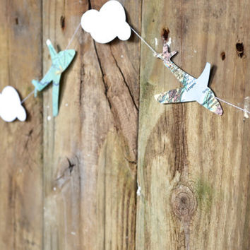 Clouds and Vintage Map Airplanes Garland, classic party decor