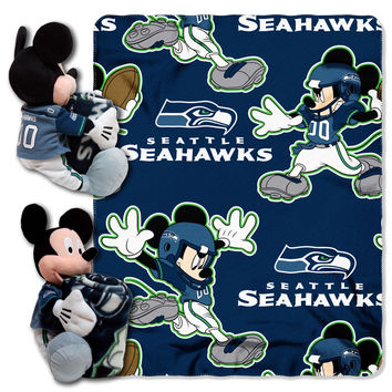 "Seahawks -Disney 40x50 Fleece Throw w/ 14"""" Plush Mickey Hugger"