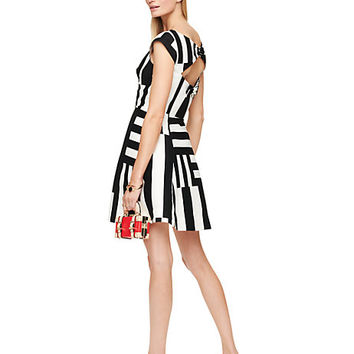 Kate Spade Multi Stripe Kite Bow Back Dress Black/ White
