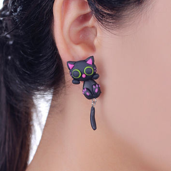 SALE!! - Black Cat Earrings Green Eyes Hand Made Polymer Clay 3D Black/Pink/Green Geek Gamer Gift her Woman Cute Girl Sale