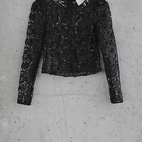Coated Crocheted Lace Express Edition Cropped Top from EXPRESS