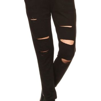 Sweat Knit Joggers with Cutouts - Black