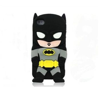 PEAPIX3 3D cute Superhero Cartoon Silicon Soft Cover Case for iPhone 4 4S 4G (Batman) = 1928041860