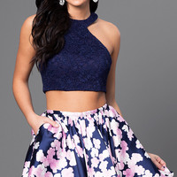 Two Piece Lace Bodice and Print Skirt Dress