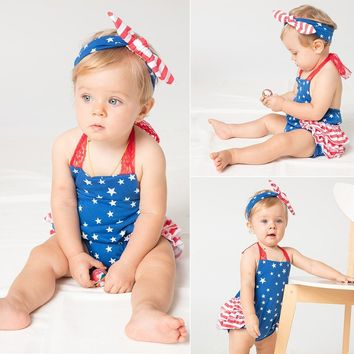 4th Of July Stars Romper and Headband