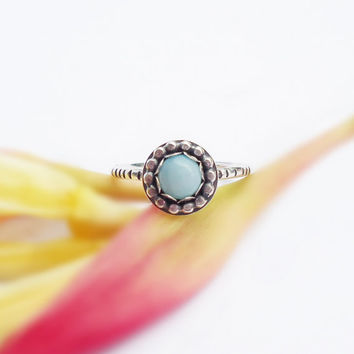 Larimar Ring, Silver ring, cabochon ring, bezel gemstone, blue ring, sterling silver ring, boho jewelry, oxidized jewelry, round gemstone