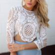 Lioness sheer lace crop top in white